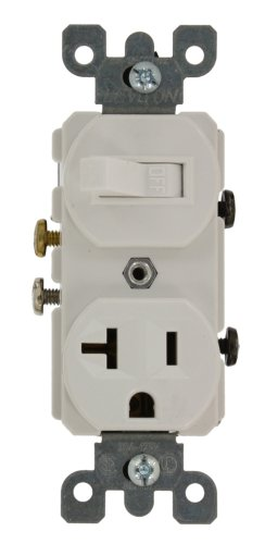 - Leviton 5335 20 Amp, 120 Volt, Duplex Style Combination Single Pole Switch/Receptacle, Grounding, White