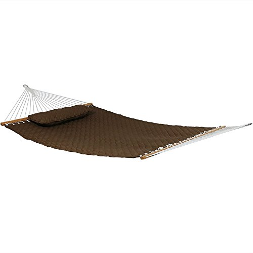 Sunnydaze 2-Person Quilted Designs Fabric Hammock with Spreader Bars and Detachable Pillow, Heavy Duty 440-Pound Capacity, Brown - Large Quilted Fabric Hammock