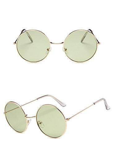 Nuni Unisex Gold Wire Frame Tinted Lens Retro Round Sunglasses (gold, - Pink Green And Sunglasses