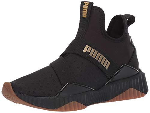 (PUMA Women's DEFY MID Sneaker, Black-Metallic Gold, 11 M US)