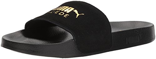 PUMA Men's Leadcat Suede Slide Sandal, Black-teamgold, 10 M US (Minion Men Slippers)
