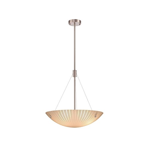Lite Source LS-18461 Rocco 3-Light Pendant with Frost Glass Shade, Polished Steel Finish by Lite Source