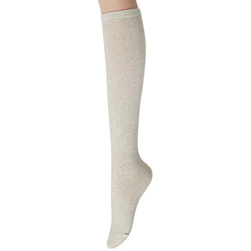 Sockstheway Womens Casual Knee High Socks with Vintage Style (Oatmeal, 1pair)