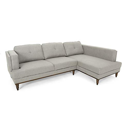 Christopher Knight Home 306675 Gabe Sectional Couch Set with Chaise Lounge 2-Piece 3-Seater Upholstered Birch Legs Gray, Walnut
