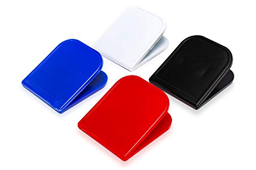 Chip Bag Clips - Multicolor 4 Pc Pack - Reusable Durable Plastic for Tight Seal - Keep Snacks Fresh & Stay Organized- Perfect for Travel, Lunch Bags, Potato Chips & Storage (Red, White, Blue & Black)