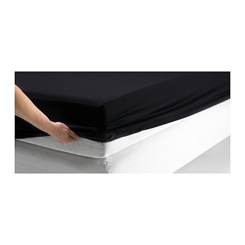 Ikea Dvala Black Fitted Sheet 100% Cotton, Queen