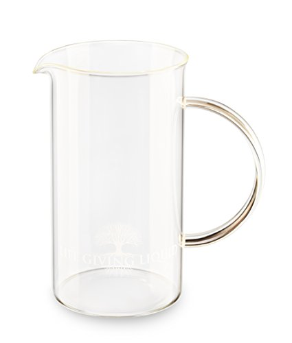 Life Giving Liquid - Replacement Glass Beaker with Glass Handle for French Press Coffee Maker - Borosilicate Glass Carafe 34 oz 1L - FDA Approved