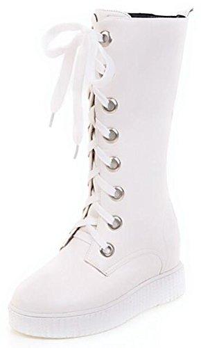 Idifu Piattaforma Casual Da Donna Con Plateau Con Zeppa Nascosta Allinterno Lace Up Riding Mid Boots Bianco