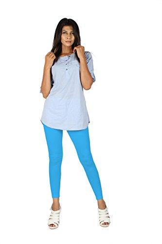 EERA Damen Skinny Leggings, einfarbig blau T Blue