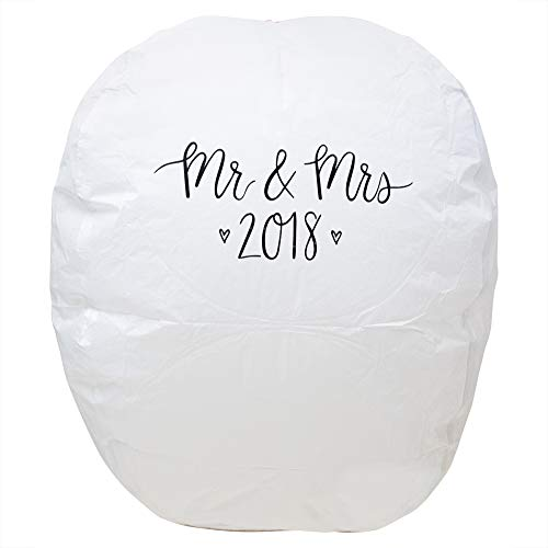 Chinese Paper Lantern 1000 ft. Sky Light, Biodegradable, Built-in Fuel Cell, Fire Retardant & Easy to Use for Weddings, Engagements & First Anniversary Gifts (2PK)