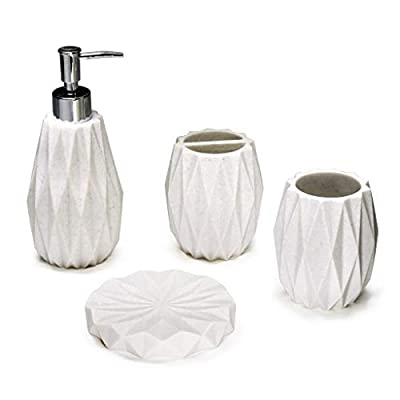 """Kralix Bathroom Accessories Set,4-Piece Modern Resin White Bath Accessory with Soap Dispenser, Toothbrush Holder,Tumbler, Soap Dish - MODERN AND ELEGANT BATHROOM SET: 4- piece set made of white polyresin with an origami shape. DESIGN: This Bath Accessory set will complements any bathroom decor . COMPLETE SET: Lotion/Soap Dispenser 7.36""""x3.2"""", Toothbrush Holder 3.42""""x3.93"""", Tumbler Cup 3.42""""x3.93"""", Soap Dish 4.72""""x 0.70"""". - bathroom-accessory-sets, bathroom-accessories, bathroom - 31Nc8VSjTzL. SS400  -"""