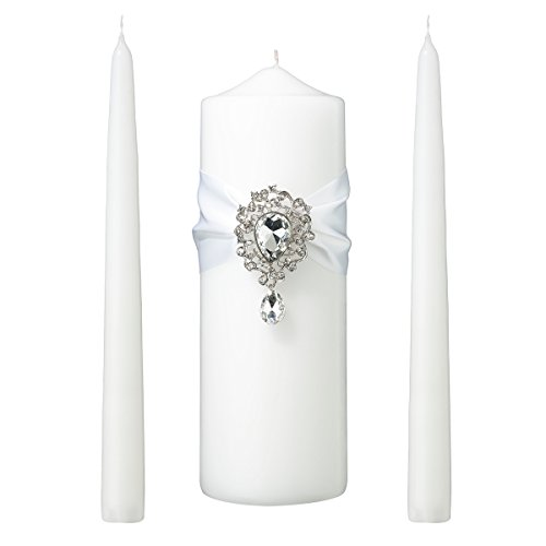 (Lillian Rose WS300 W Jeweled White Unity Candle Wedding Ceremony Set, 9