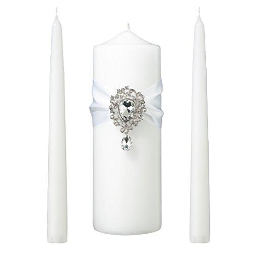 Holder Lillian Candle Pillar Rose - Lillian Rose WS300 W Jeweled White Unity Candle Wedding Ceremony Set, 9