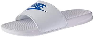Nike Australia Men's Benassi JDI Slides, White/Varsity Royal-White, 7 US