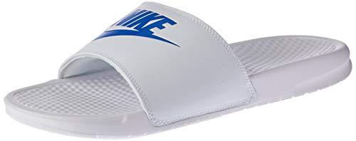 Nike Men's Benassi Just Do It Athletic Sandal, White/Varsity Royal, 12 Regular US (White Jordan Sandals)