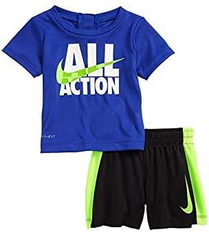 Nike Boy`s Dri-Fit T-Shirt & Shorts 2 Piece Set (Hyper Royal(86C994-U5H)/Volt, 4)