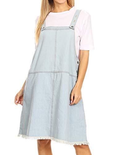 Anna-Kaci Womens Junior Fashion 90s Loose A-Line Adjustable Strap Pockets Bib Skirt Distressed Denim Pinafore Short Overall Dress, Small, Light Denim