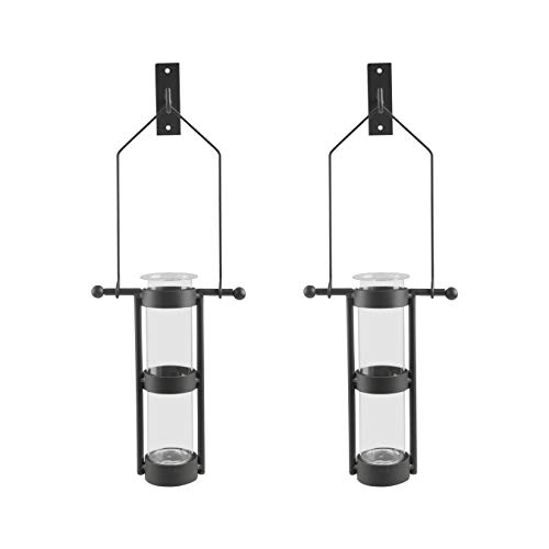Danya B. Wall Mount Hanging Glass Cylinder Vase Set with Metal Cradle and Hook (Glass Decor Wall)