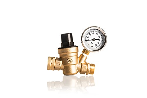 (Kanbrook Adjustable RV Water Pressure Regulator with TWO Inlet Screen Filters - 1 Year Hassle-Free Warranty)