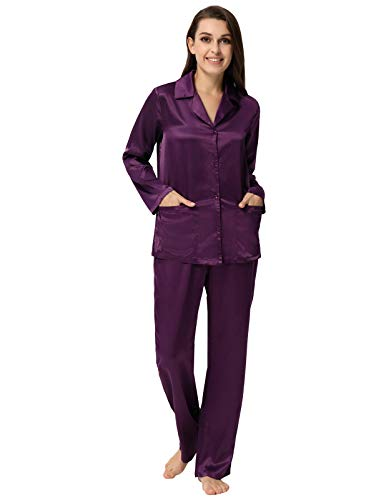 (Pajamas for Women Silky Nightie Long Sleeve Lounge Set for Winter Purple XXL)