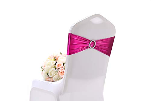 Easy Wedding Decorations (FK Premium Quality Metallic Pink Fuchsia Spandex Chair Sashes for Wedding Ideal AS Wedding Decorations for Ceremony 50PCS or 1PCS Easy to FIT Wedding Chair Covers Chair Bows for Party)