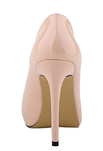 CAMSSOO Women's Classic Fashion Round Toe Slip On High Heel Wedding Party Court Pumps Shoes nude patent pu OvnMverSI