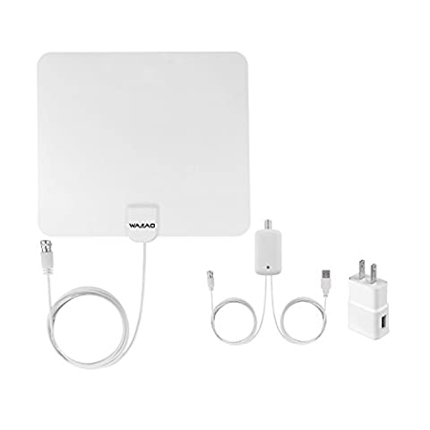 WAAO HDTV Indoor Antenna- 50 Miles Digital Long Range TV HD Antenna With Amplifier Signal Booster Upgraded Version-10ft Coax (Uhf To Hdmi Adaptors)