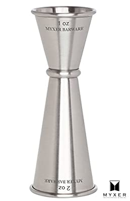 MYXER Double Cocktail Jigger, 1 & 2 Oz - Accurate Measure for Cocktail Recipes - Stainless Steel
