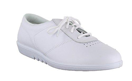 Comodidad paso libre para mujer de piel sintética tipo Casual zapatos de cordones lavable a pantallas planas o espacios blanco - blanco