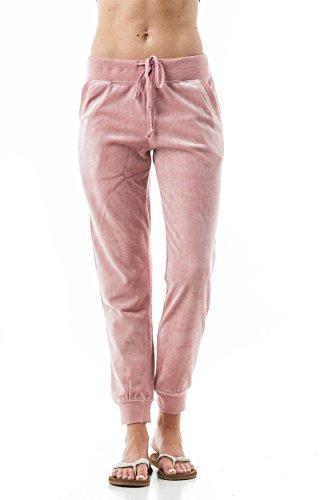 (Khanomak Women's Drawstring Velvet Velour Front Slant Pockets Casual Joggers Pants (Small, Mauve))