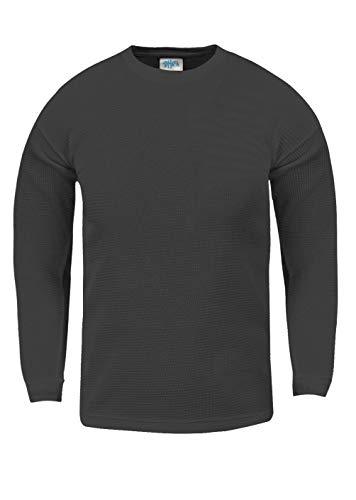 Shaka Wear KTC21_M Thermal Long Sleeve Crewneck Waffle Shirt C.Grey M