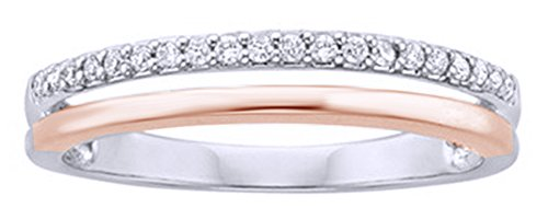 White Natural Diamond Two-Tone Anniversary Ring In 10K Solid White Gold (0.125 (0.125 Ct Diamond)