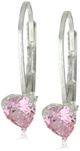 Disney Princess Sterling Silver Pink Heart Cubic Zirconia Lever Back Earrings from Disney