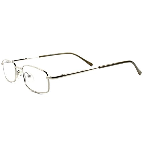 Rx Prescription Ready Slick Modern Rectangle Silver Clear Lens Eye Glasses - Modern Glasses Slick