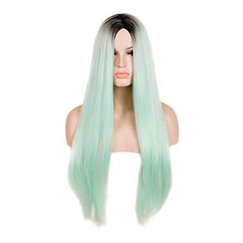 SiYi Long Straight Mint Green Wig Ombre Dark Brown Root Synthetic Wig Heat Resistant Cosplay Pastel Full Wigs for Women (Fancy Dress Magic Ltd)