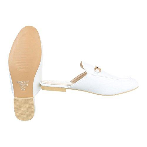 Ital-Design Pantoletten Damenschuhe Jazz & Modern Blockabsatz Blockabsatz Sandalen/Sandaletten Weiß