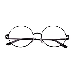 Agstum Retro Round Prescription ready Metal Eyeglasses Frame 51mm (X-Large Size) (Black, 51)