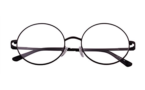 Agstum Retro Round Prescription ready Metal Eyeglasses Frame 51mm (X-Large Size) (Black, 51)