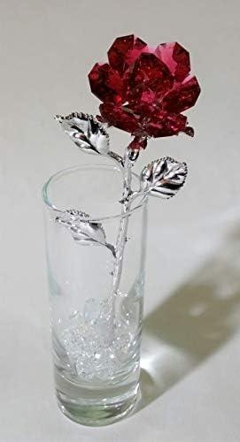 Red Crystal Rose Made Using Swarovski Crystal in Vase