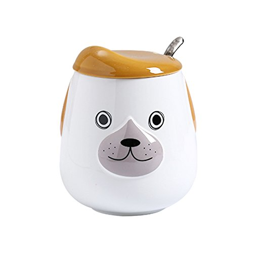 Lovely Cute Dog Face Mug, Painted Animals Embossed Coffee Mug Cup with Ceramic Beret Lid and Spoon, Orange, (Mr.)- 17 oz -Best Gifts for Mom, Dad, Husband, Wife, Boyfriend, Girlfriend or Coworkers