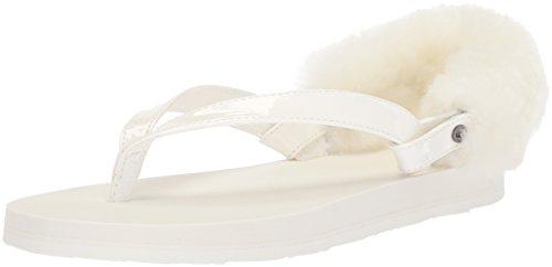 UGG Girls K Laalaa Flip-Flop, White, 5 M
