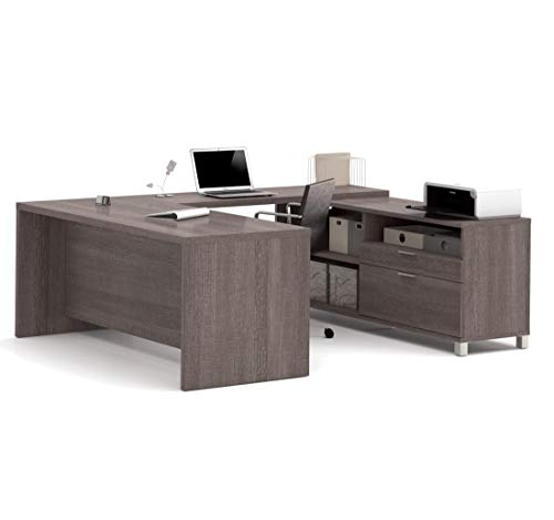 Bestar Pro-Linea U-Desk, Bark Grey