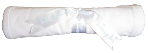 Kissy Kissy Baby Signature Blanket-White with Blue-One (Signature Soft Blanket)