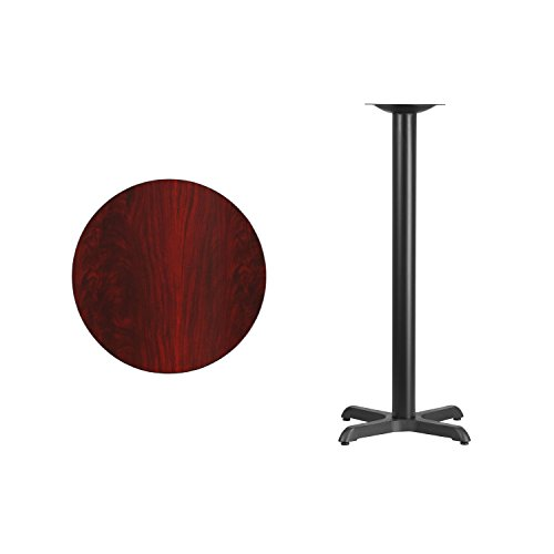 Flash Furniture 24'' Round Mahogany Laminate Table Top with 22'' x 22'' Bar Height Table Base by Flash Furniture