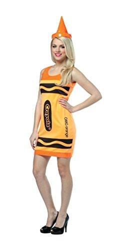 Crayola Neon Orange Tank Dress Adult Costume -