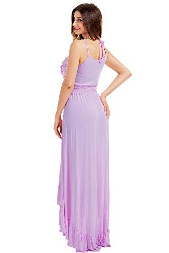 Lukis Damen Ärmellos V Ausschnitt Partykleider Cocktailkleid Asymmetrisch Maxikleider Violett OaTWe1d8