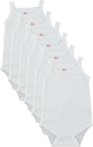 (Baby and Toddler Girls White Camisole Onesie Bodysuit - W2GSNR - Size 0-3 - 6PK)