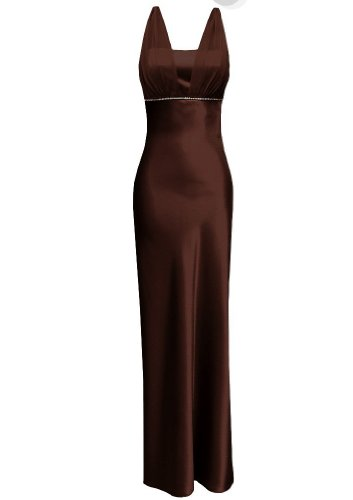 Satin Chiffon Holiday Bridesmaid Long Formal Gown Crystals Junior Plus Brown X-Large