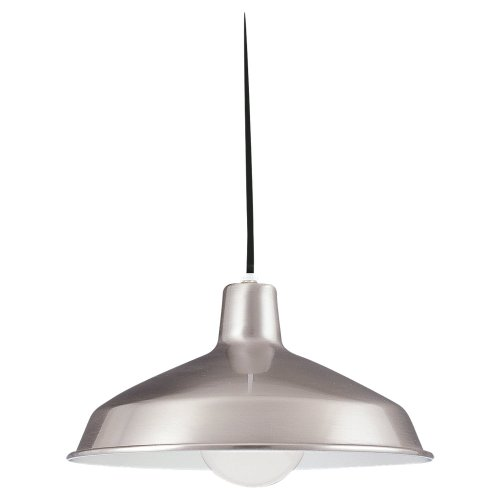Sea Gull Lighting 6519-98 One-Light Pendant, Brushed Stainless Finish with Black Cord (Pendant Lighting Stainless)