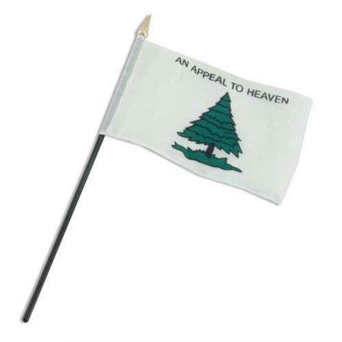 (ALBATROS an Appeal to Heaven Tree with Grass Washington Cruisers Flag 4 inch x 6 inch Desk Stick for Home and Parades, Official Party, All Weather Indoors Outdoors)
